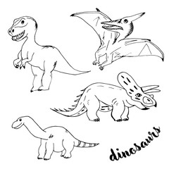 Doodle dinosaurs with black outline