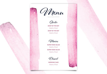 Wedding Menu with Pink Watercolor Brush Strokes