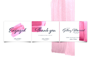Social Media Wedding Post Set with Pink Watercolor Brush Strokes