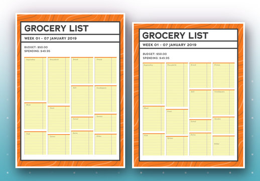Weekly Grocery List with Yellow Notebook-Style Boxes