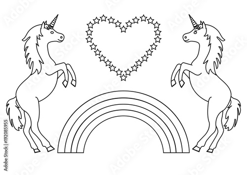"""Couple Unicorns With Rainbow And Heart With Stars"