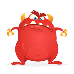 Angry cartoon monster. Vector illustration of red monster character  for Halloween