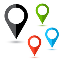 Colored set of map pointer icon. Location symbol. Vector illustration