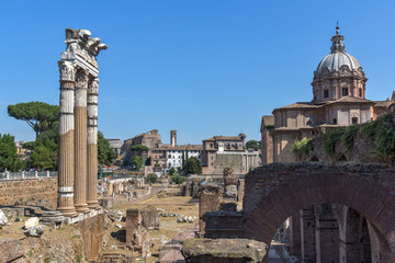 Amazing view of Trajan Forum in city of Rome, Italy