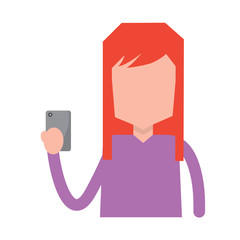 portrait woman holding smartphone using technology vector illustration