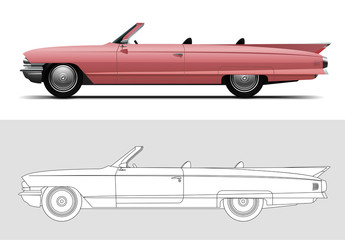 Vector illustration of Cadillac DeVille 1960, Old timer, classic car.