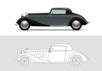 Vector illustration of Whittell Duesenberg. Old timer, classic car.