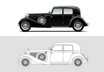 Vector illustration of Mercedes-Benz 380, 1933, Old timer, classic car.