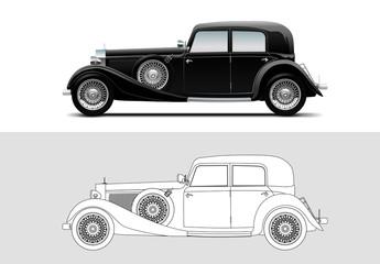 Vector illustration of Mercedes-Benz 380, 1933, Old timer, classic car.