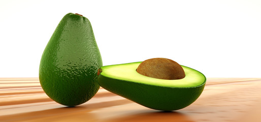 Extremely detailed and realistic high resolution 3D illustration of an avocado fruit.