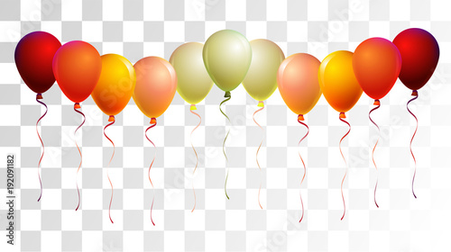 Helium Balloons Realistic Vector Colored Collection Music Festival