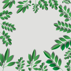 cute leafs decorative frame vector illustration design