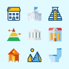Icons about Construction with monumental, school, white house, hotel, pyramid and pyramids