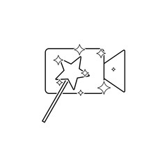 magic wand on video camera icon. Element of video player for mobile concept and web apps. Thin line icon for website design and development, app development. Premium icon