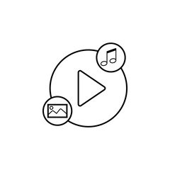 player for music and pictures icon. Element of video player for mobile concept and web apps. Thin line icon for website design and development, app development. Premium icon