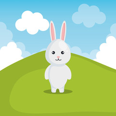 cute rabbit in landscape vector illustration design