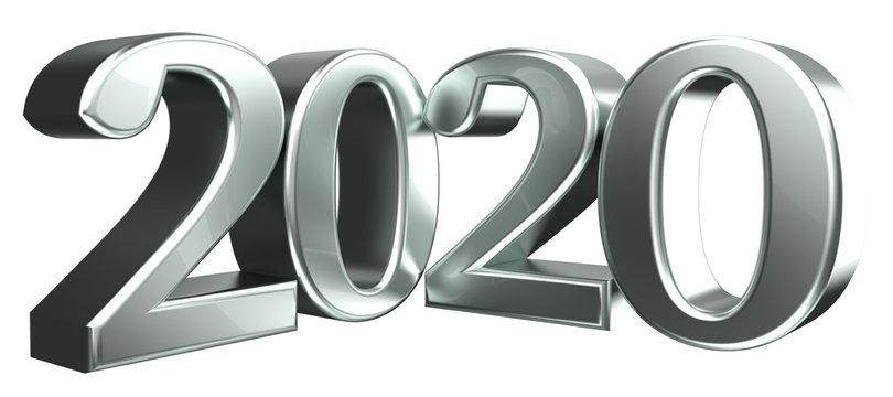 2020 3d rendering silver metallic