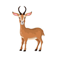 Beautiful funny cartoon antelope. Cute, fast antelope with sharp horns.