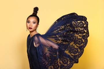 Evening Gown Ball Dress in Asian beautiful woman with fashion make up black hair, High Heel shoes