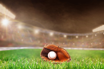 Outdoor Baseball Stadium With Glove and Ball, and Copy Space
