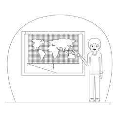 male teacher in geography class vector illustration design