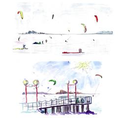 Winter kitesurfing on the frozen sea - a watercolor sketch.
