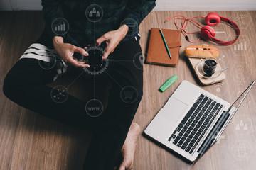 Hipster man using smart phone
