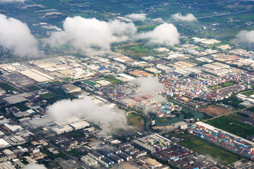 Aerial view  Village in Southern of Thailand from airplan
