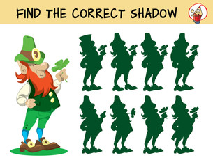 Leprechaun. Find the correct shadow. Educational matching game for children. Cartoon vector illustration