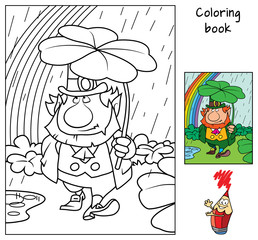 Funny leprechaun holding clover leaf like an umbrella. Coloring book. Cartoon vector illustration