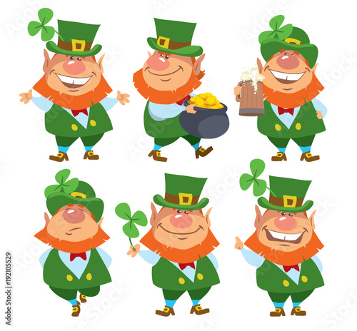 Saint Patric's Day. Set of Leprechauns. Isolated. Cartoon ...