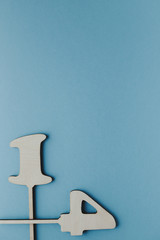 wooden number plates 14, blue background