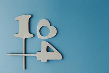 wooden number plates 14, blue background