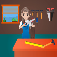 Female Carpenter Holding Saw and Wood