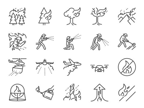 Wildfire line icon set. Included the icons as fire storm, firefighting, firefighter, extinguish, mountain, burning, forest and more.