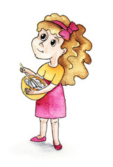 A little girl in a pink skirt and an orange T-shirt with light brown hair and a bow on her head wins a handful of eggs in the kitchen. Live watercolor illustration. Hand-drawn.