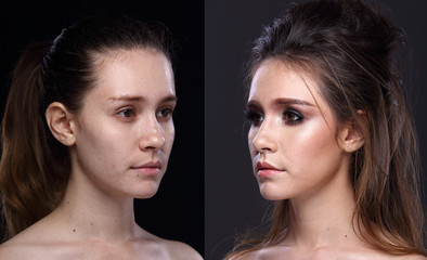 Caucasian Woman before after make up hair style. no retouch, fresh face