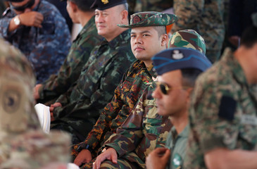 Myanmar army officer (C) attends opening ceremony of Cobra Gold, Asia's largest annual multilateral military exercise, outside Bangkok