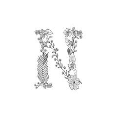 Letter N floral ornament