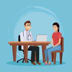 Doctor with patient cartoon icon vector illustration graphic design Health and healthcare