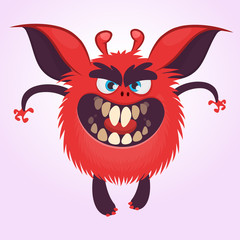 Cartoon scary red round monster illustration. Vector of a small tiny monster with big ears. Halloween character