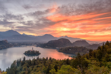 Beautiful Sunrise of Lake Bled and Bled Village view from Ojstrica Hill View Point, Slovenia