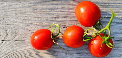 Red tomatoes on wooden surface. Wide photo.