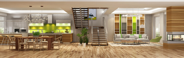 Modern living room kitchen interior in a house or apartement