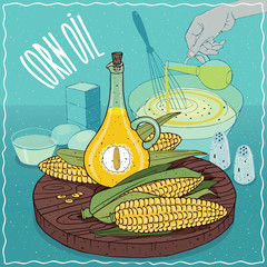 Corn oil used for cooking