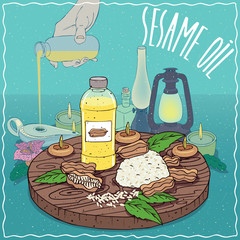 Sesame oil used as fuel for oil lamp
