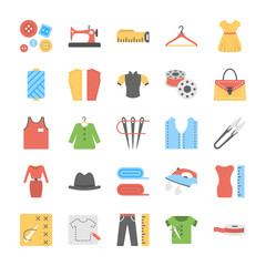 Sewing Flat Vector icons set
