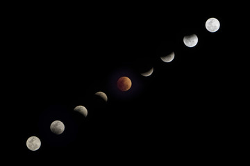 Super blue blood moon in January 2018.Moon light changed by the shadow of the earth in Lunar Eclipse on full moon night