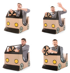 Collage of mature man playing with cardboard car on white background. Dream of buying own auto