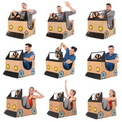 Collage of people playing with cardboard cars on white background. Dream of buying own auto